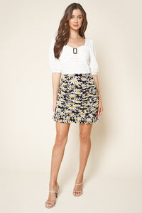 Life Is Beautiful Floral Print Ruched Mini Skirt