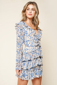 Walk On By Light Blue Floral Ruffle Mini Dress