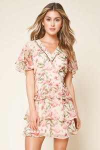 Sweet Like You Floral Print Flutter Sleeve Mini Dress