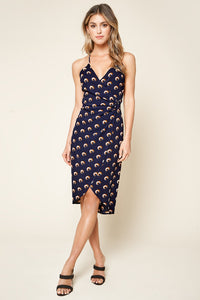 Ever After Printed Surplice Midi Dress