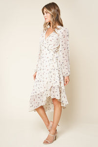 Love Bird Floral Print Midi Wrap Dress