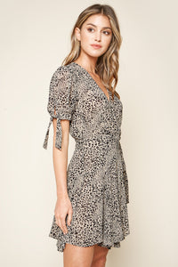 Fierce Feeling Leopard Print Tie Sleeve Wrap Dress