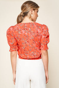 Sallie Floral Print Puff Sleeve Crop Top