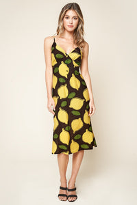Pucker Up Lemon Print Midi Slip Dress