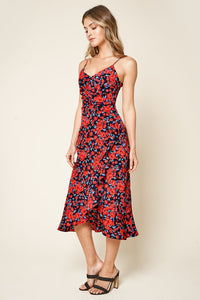 Go Your Way Floral Print Ruched Midi Dress