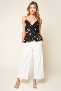 Girls Just Want To Have Fun Floral Print Ruffled Wrap Top