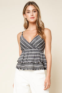 Shadow Well Striped Ruffle Cami
