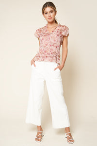 Be Tender Floral Print Ruffled Blouse