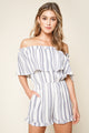 See You Later Striped Off The Shoulder Romper