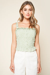 Bellevue Floral Print Ruffled Crop Top