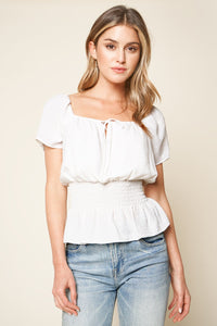 Cobos Short Sleeve Smocked Top