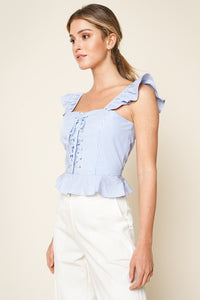 Averi Striped Lace Up Peplum Top