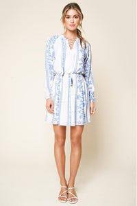 Tirado Embroidered Lace Up Peasant Dress
