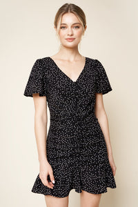 Mellie Polka Dot Ruched Mini Dress