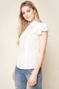 A Plus Ruffled Pintuck Blouse
