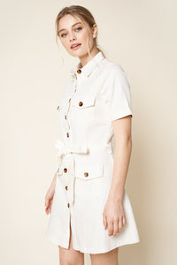 Close Call Utility Button Up Mini Dress