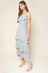 Mi Amore Blue Floral Print Ruffled Maxi Dress
