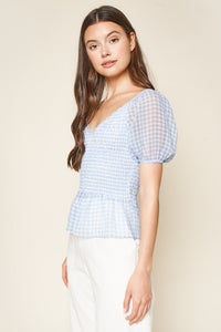 Suellen Gingham Smocked Crop Top
