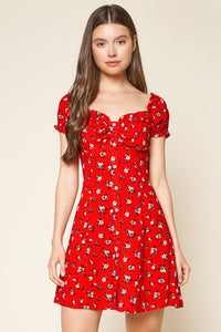 Fever Dream Floral Button Up Babydoll Mini Dress