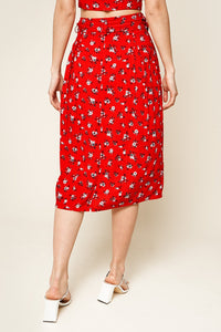 Fever Dream Floral Print Bow Tie Midi Skirt