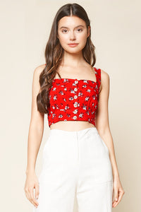 Fever Dream Floral Print Button Up Crop Top