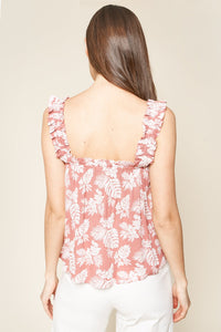 Highway To Paradise Tropical Print Ruffled Top