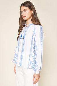 Tirado Embroidered Lace Up Peasant Blouse