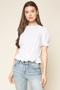 Pep It Up Puffed Sleeve Peplum Top