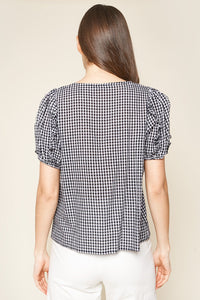 Laia Gingham Puff Sleeve Top