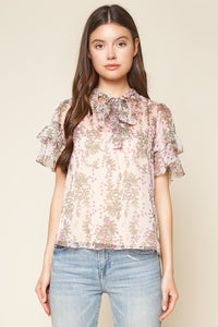 How To Love Floral Print Neck Tie Top