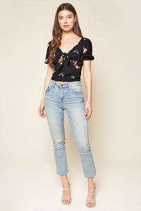 Girls Just Want To Have Fun Floral Print Tie Front Top