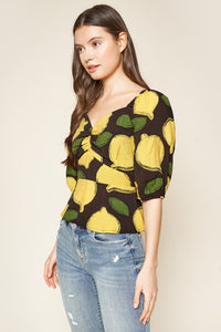 Pucker Up Lemon Print Puff Sleeve Peplum Top