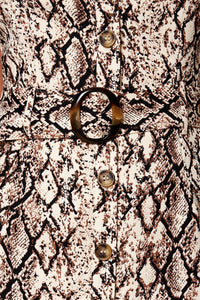 Wild Beauty Snake Print Belted Mini Dress