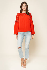Look At Me Now Crochet Lace Inset Blouse