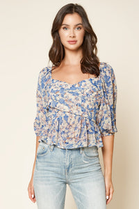Walk On By Floral Peplum Top