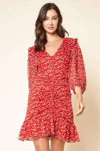 Cleo Floral Print Ruched Ruffle Dress