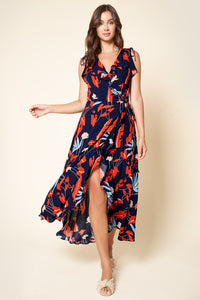 Lyndzee Floral Print Wrap Maxi Dress