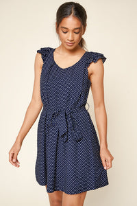 Early To Rise Polka Dot Ruffled Mini Dress