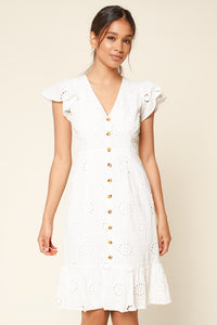 With A Kiss Eyelet Button Down Midi Dress