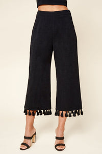 Stay Extra Tassel Trim Wide Leg Pants