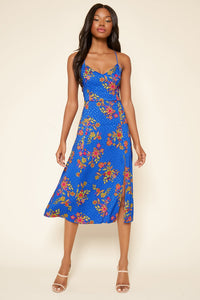 Harlow Floral Satin Midi Dress