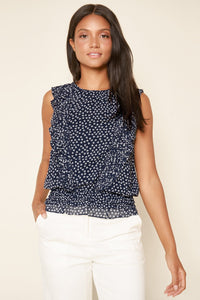 Crosswinds Floral Print Ruffle Blouse