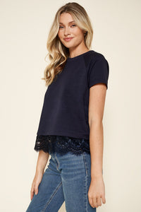 Emilia Knit Lace Trim Top