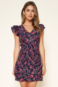 Aurora Floral Smocked Ruffle Mini Dress