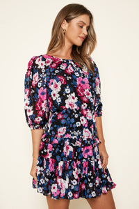 Wild Floral Ruffle Dress