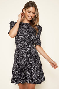 Giana Dot Puff Sleeve Dress