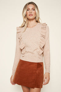 Iceland Ruffled Oatmeal Pointelle Sweater