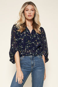 Floral Ways Balloon Sleeve Top