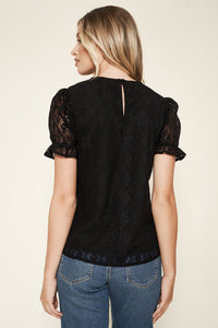 Adella Lace Ruffle Top