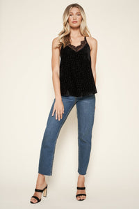 Martha Floral Velvet Burnout Lace Cami